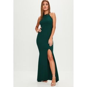 Missguided Green Maxi Dress / Gown with slit